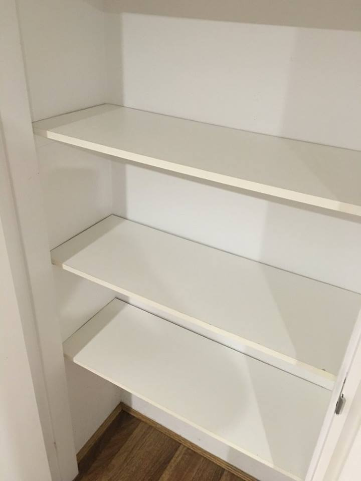 Pantry cupboards and shelves look brand new
